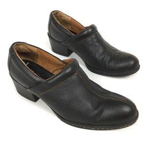 B.O.C. BORN Black Leather Clogs